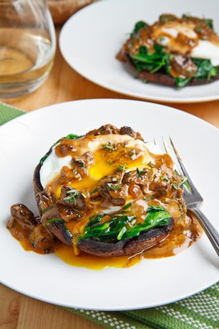 Roasted Portobello Mushroom with Poached Egg in a Creamy Mushroom Sauce - (Free Recipe below)