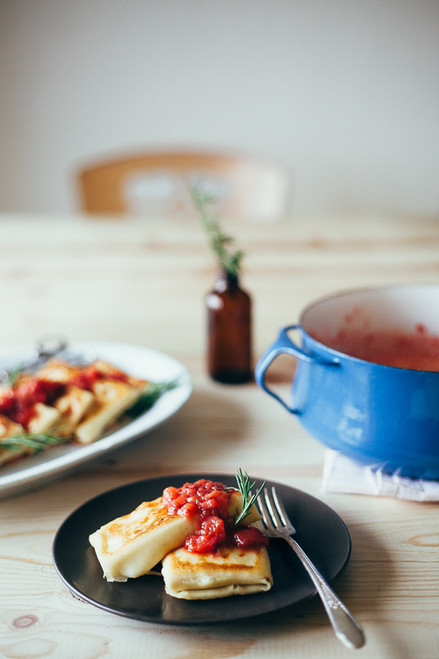 Rosemary Ricotta Blintzes with Strawberry Rhubarb Sauce - (Free Recipe below)