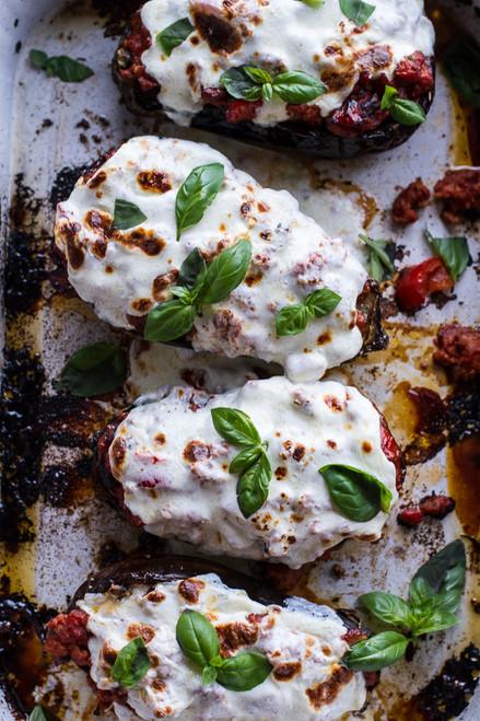 Parmesan Roasted Garlic Eggplant & Spicy Italian Chicken Sausage Lasagna Boats - (Free Recipe below)