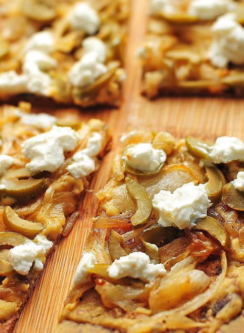 Hummus Olive Goat Cheese Flatbread - (Free Recipe below)