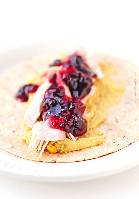 Rosemary Hummus Cranberry Turkey Wraps - (Free Recipe below)