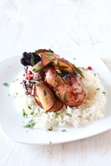 SRIRACHA GLAZED CHICKEN WITH PICKLED PLUM SALAD - (Free Recipe below)