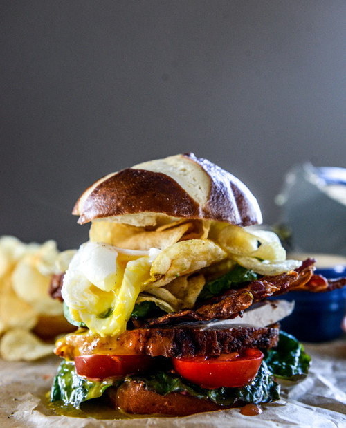 Roasted Turkey Potato Chip BLAT with a Poached Egg - (Free Recipe below)