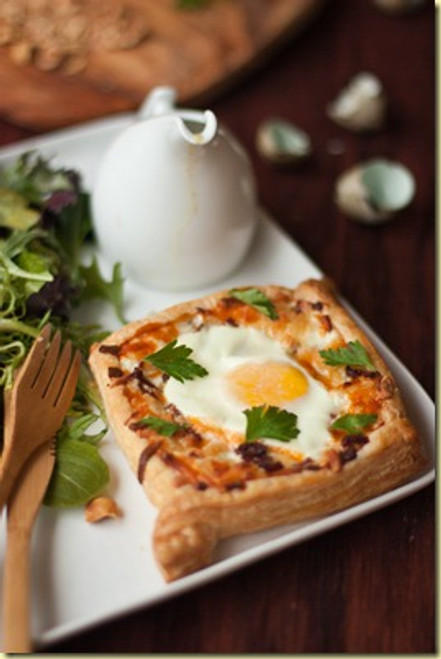 Egg Tart & Green Salad w/ Walnuts and Honey Mustard Dressing - (Free Recipe below)