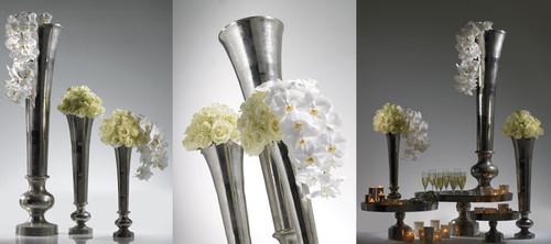 """Vera Vase 8""""x 31"""" Silver"""