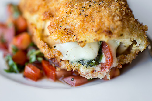 Crispy Stuffed Chicken Caprese w/ Fresh Mozzarella, Basil & Tomatoes, w/ Fresh, Tomato-Basil Relish - (Free Recipe below)