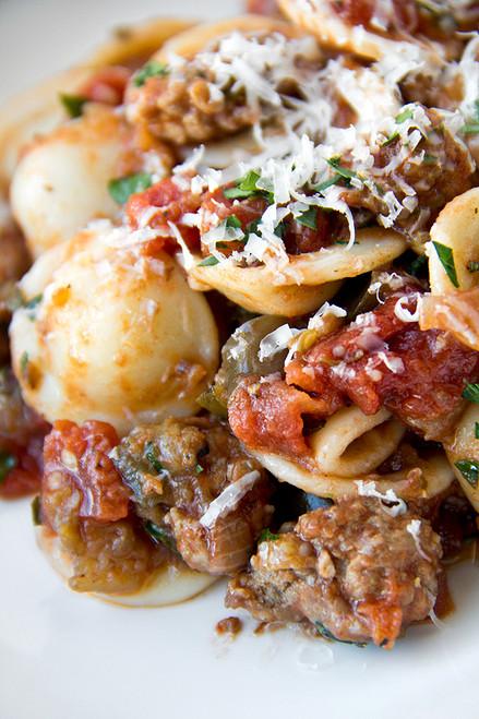 Orecchiette Pasta With Caramelized Eggplant and Spicy Pork Ragu - (Free Recipe below)