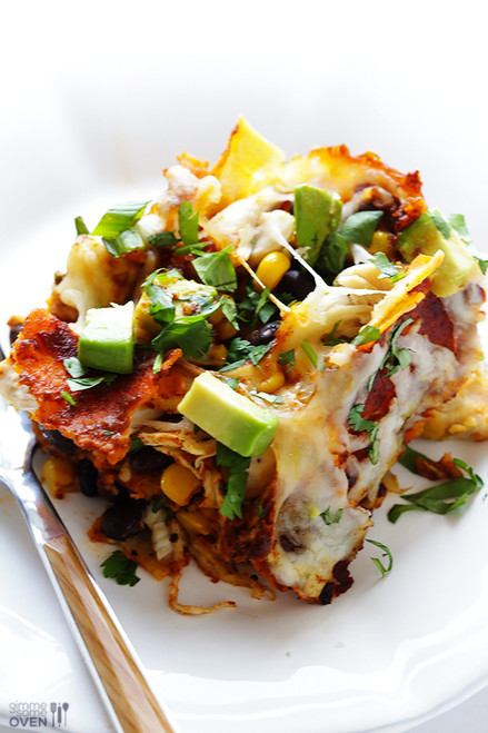 STACKED CHICKEN ENCHILADAS - (Free Recipe below)