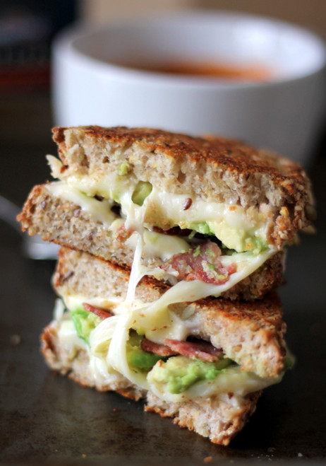 Turkey Bacon, Avocado, & Mozzarella Grilled Cheese - (Free Recipe below)