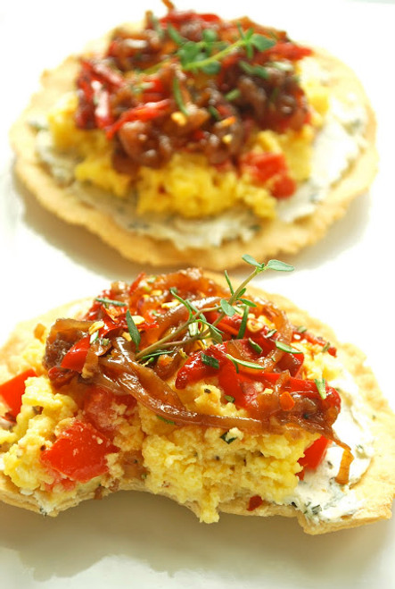 Scrambled Egg Breakfast Tostadas with Caramelized Onions and Herbed Goat Cheese - (Free Recipe below)