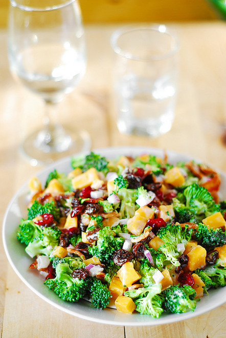 Broccoli Salad with Bacon, Raisins and Cheddar Cheese - (Free Recipe below)