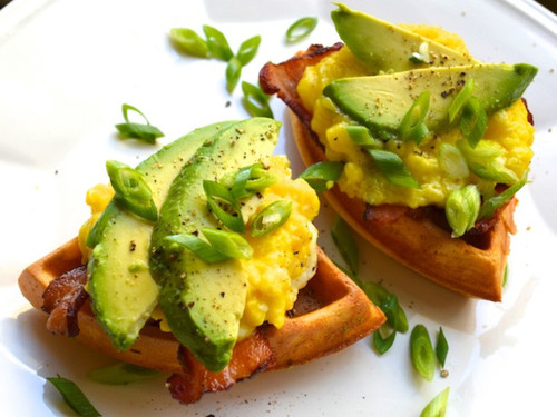 Chili Waffle Sandwiches with Cheesy Scrambled Eggs, Bacon, and Avocado - (Free Recipe below)