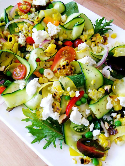 Squash, Zucchini Ribbon Salad with Tomatoes, Peas, Corn, and Goat Cheese - (Free Recipe below)