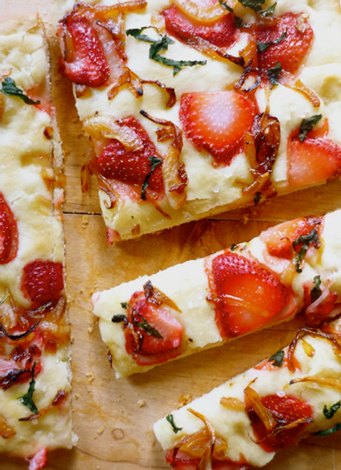 Strawberry Focaccia with Maple Balsamic Onions - (Free Recipe below)