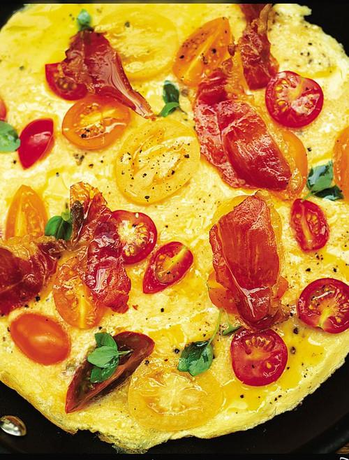 Tomato, Basil & Prosciutto Omelette - (Free Recipe below)