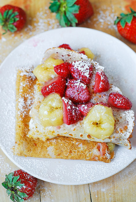 Crepes w/ Strawberry, Banana, and Peanut Butter - (Free Recipe below)