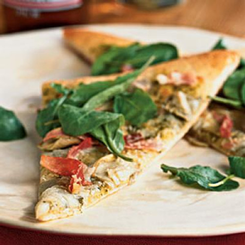 Artichoke and Arugula Pizza with Prosciutto - (Free Recipe below)