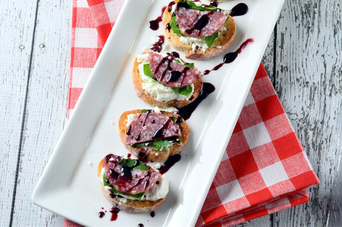 Salami and Goat Cheese Crostini with Pinot Noir Sauce - (Free Recipe below)