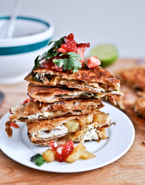 Caramelized Pineapple Quesadillas w/ Spicy Strawberry Salsa - (Free Recipe below)