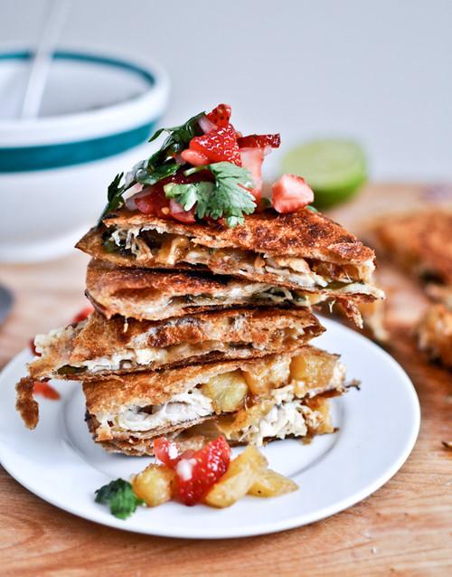 Caramelized Pineapple Quesadillas w/ Spicy Strawberry Salsa - (Free Recipe below)