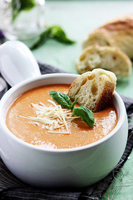 TOMATO BASIL PARMESAN SOUP - (Free Recipe below)