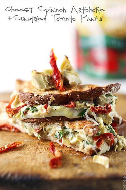 CHEESY SPINACH ARTICHOKE & SUNDRIED TOMATO PANINI - (Free Recipe below)