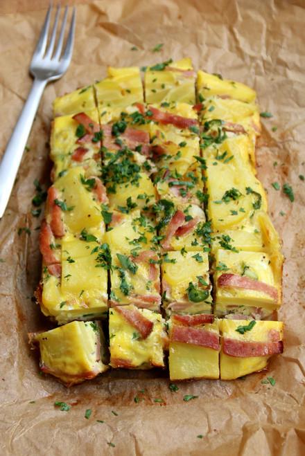 Spanish Eggs Tortilla with Potato Ham & Cheese - (Free Recipe below)