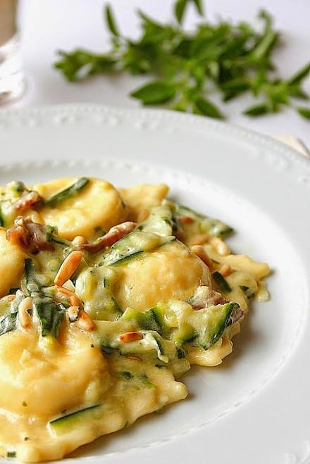 Buffalo Ricotta Ravioli with Zucchini, Prosciutto and Mascarpone - (Free Recipe below)