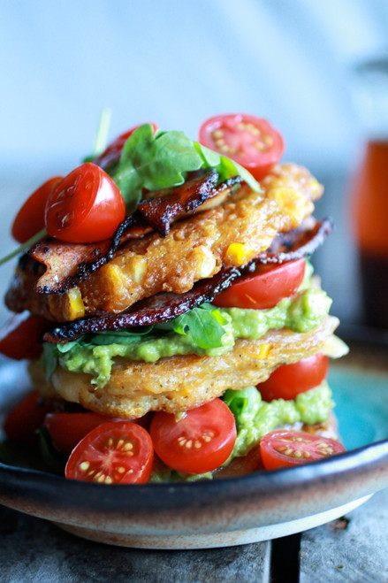 Avocado and Gouda BLT Corn Fritter Stacks with Chipotle Bourbon Dressing - (Free Recipe below)