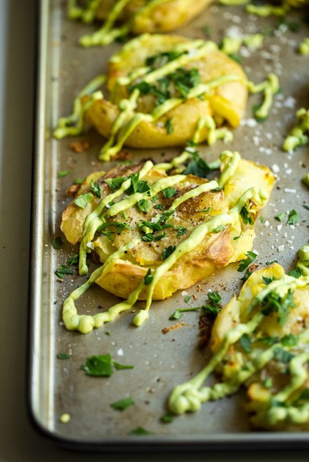 Crispy Smashed Potatoes with Avocado Garlic Aioli - (Free Recipe below)