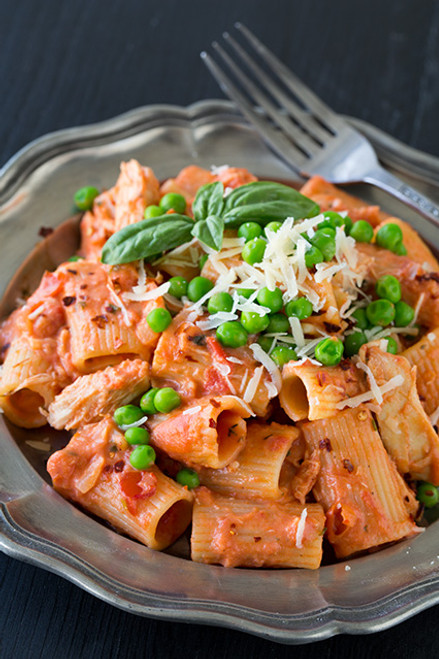 Rigatoni with Chicken in a Spicy, Creamy Marinara - (Free Recipe below)