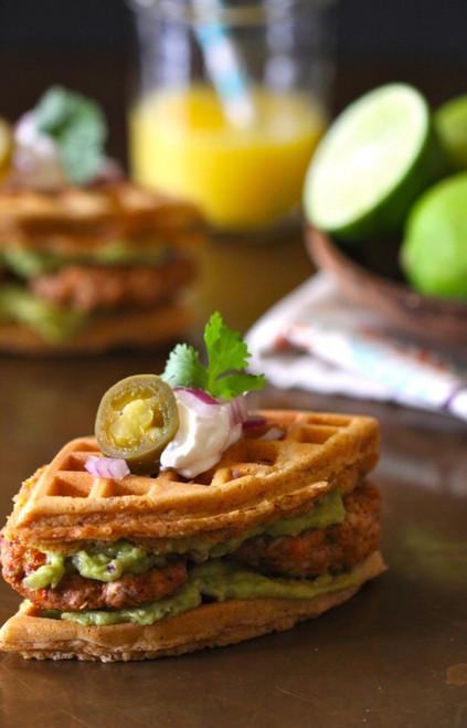 Spiced Mini Waffle Breakfast Sandwich w/ Chicken Chorizo & Guacamole - (Free Recipe below)