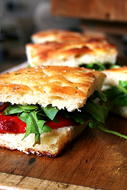 Homemade Focaccia + Roasted Red Pepper & Arugula Sandwiches - (Free Recipe below)