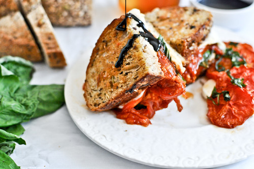 Roasted Tomato Caprese Grilled Cheese with Balsamic Glaze - (Free Recipe below)