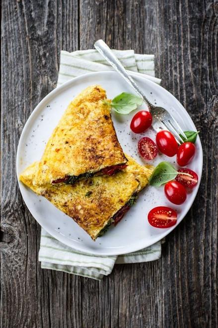 Pistachio Pesto & Roasted Tomato Omelet - (Free Recipe below)