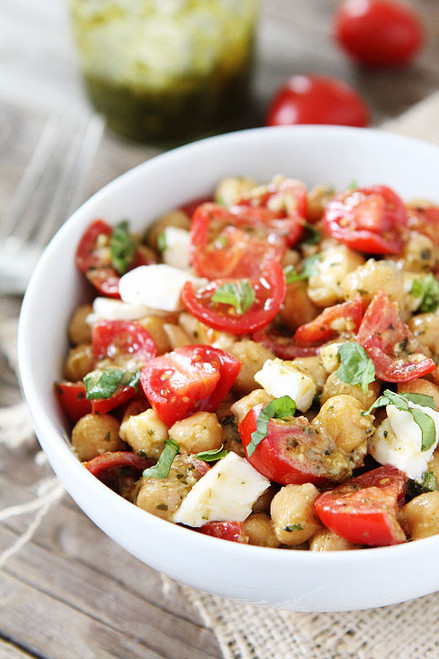 Chickpea, Pesto, Tomato and Mozzarella Salad - (Free Recipe below)