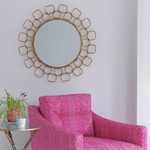 Wire Link Gold Patina Wall Mirror