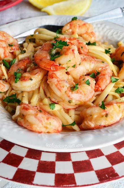 Linguine with Shrimp, Garlic and Lemon - (Free Recipe below)