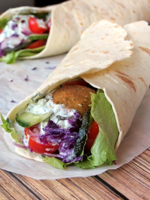 Falafel Wrap with Tzatziki Sauce - (Free Recipe below)