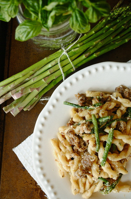 Gemelli with Asparagus and Sausage in a Ricotta Cheese Sauce - (Free Recipe below)