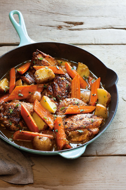 Braised Chicken Thighs with Carrots, Potatoes and Thyme - (Free Recipe below)