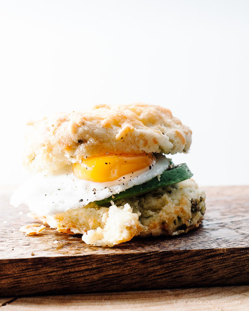 Cheddar, Avocado, Egg & Green Onion Biscuit Sandwich - (Free Recipe below)