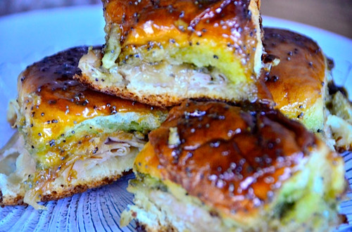 TURKEY, PESTO, ONION & CHEESE POPPYSEED SLIDERS - (Free Recipe below)