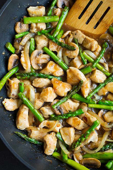 Ginger Chicken Stir-Fry with Asparagus - (Free Recipe below)