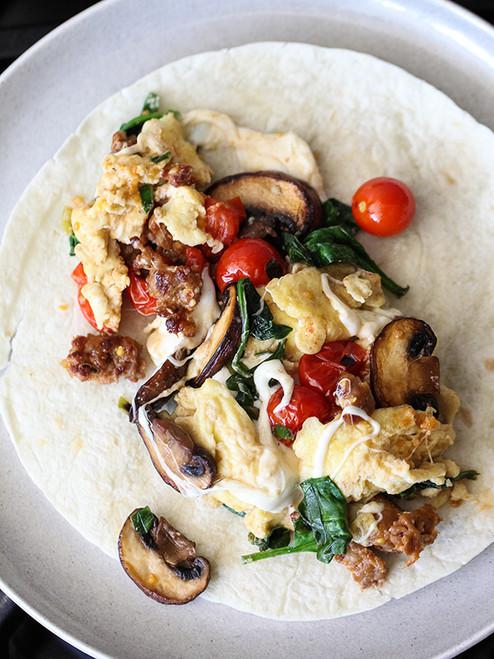 Scrambled Eggs and Sausage Breakfast Wrap - (Free Recipe below)