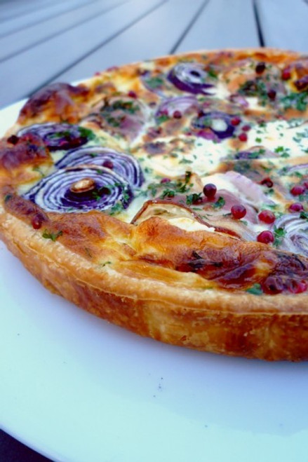 Goat Cheese, Bacon & Onion Tart Pie - (Free Recipe below)