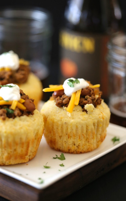 Chili Stuffed Jalapeno Cornbread Muffins - (Free Recipe below)