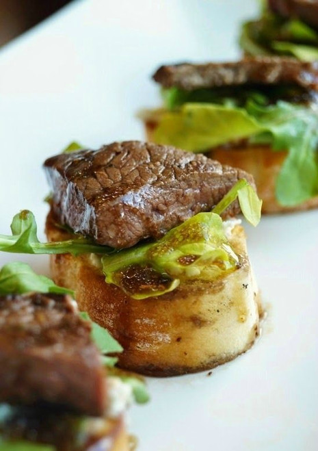 Balsamic Steak Crostini with Herbed Cheese and Arugula - (Free Recipe below)