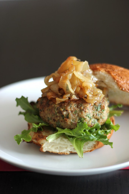 Arugula Turkey Burgers with Caramelized Onions - (Free Recipe below)
