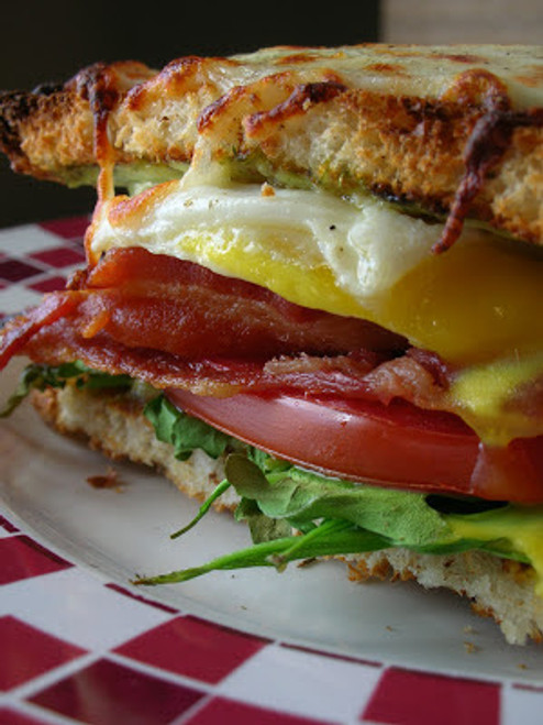 Bacon, Egg, Lettuce & Tomato Breakfast Sandwich - (Free Recipe below)